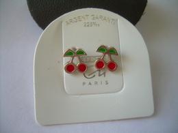 BOUCLES D'OREILLES Pour ENFANT CLOUS En ARGENT Massif 925 RHODIE, CERISES Emaillées.. NEUVES..3 Scans - Earrings