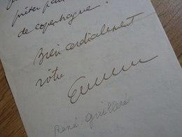 René GUILLERE (1878-1931) AVOCAT Fondateur PRIMAVERA Printemps PARIS Haussmann. AUTOGRAPHE - Autographs