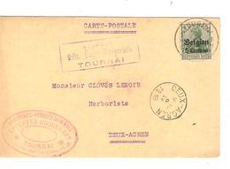 JS577/ Guerre-Oorlog 14-18 TP Oc 2 S/CP Drogueries Lefebvre C.Tournai 1916&censure V.Herboriste Deux-Acren C.d'arrivée - [OC1/25] Gouv. Gén.