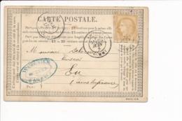 Carte Précurseur Année 1876 Envoyée à L' Huissier Delacourt Ou Delacour à EU ( Tampon Se L' Huissier Wargnier à AMIENS ) - Eu