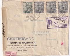 ESPAGNE 1941    LETTRE RECOMMANDEE  CENSUREE/ZENSIERT/CENSORED DE MADRID AVEC CACHET ARRIVEE MANNHEIM - 1931-50 Lettres