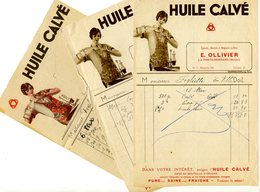 FACTURE - Lot De 3 Factures: HUILE CALVE - Automobile