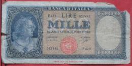 1000 Lire 1947 (WPM 88d) Ausgabe 1961 - [ 2] 1946-… : République