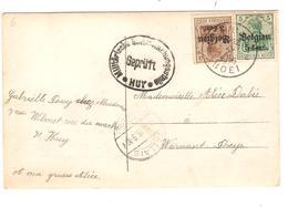 JS578 / Guerre-Oorlog 14-18 TP Oc 11-12 S/CP Fantaisie C.Huy 1916+censure V.Warnant-Dreye C.Fallais En Arrivée - WW I