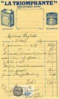 FACTURE - LA TRIOMPHANTE Encaustique Extra. Timbre Fiscal - Chemist's (drugstore) & Perfumery