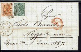 ITALIE - 1879 - N° 14 Et 24 Sur Lettre De Genova Pour Nizza Di Mare - TB - - 1861-78 Victor Emmanuel II.