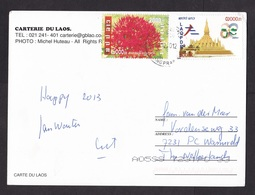 Laos: PPC Picture Postcard To Netherlands, 2012, 2 Stamps, Temple, Flower (traces Of Use) - Laos