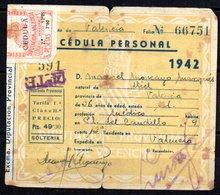 Papel Cedula Personal  1942 Con  Sello De Diputacion Valenciana. - Otros