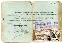 Carnet De Club Pescador De Valencia De 1955 Con Dos Viñetas. - Otros