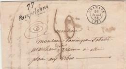 Lettre Cursive 77 PAMPELONNE Cachet Cramaux Tarn 16/3/1851 Taxe Manuscrite ??? Pour ALBI - Postmark Collection (Covers)
