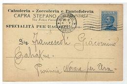 Cartolina Commerciale Alessandria - Capra Stefano Calzoleria Zoccoleria Pantofoleria - Alessandria