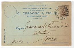 Cartolina Commerciale Alessandria - C. Cardona & Figlio Chincaglierie Mercerie Calze Filati - Alessandria