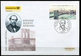 "First Day Cover Germany 2006 Mi.Nr.2544 Ersttagsbrief ""200.Geb. Von Johann August Röbling,Brooklyn Bridge,Brücke"" 1 FDC - Brücken"