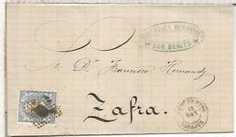 BADAJOZ ENVUELTA DE DON BENITO (MATASELLOS IN CIFRAS DE AÑO) A ZAFRA 1871 - 1870-72 Regencia