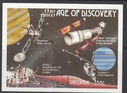 1990 Tanzania Space Astronomy Souvenir Sheet Of 1cpl MNH - Tanzania (1964-...)