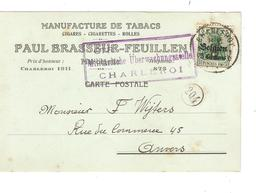JS585/ Guerre-Oorlog 14-18 TP Oc 2 S/CP Manufacture De Tabac Brasseur-Feuillen C.Charleroi 1915+censure V.Anvers - WW I