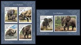 GUINEA 2018 - Elephants. M/S + S/S. Official Issue - Guinea (1958-...)