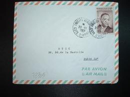 LETTRE TP PRESIDENT HOUPHOUET-BOIGNY 25F OBL. Tiretée 23-11 1962 ABIJDAN AEROPORT - Ivory Coast (1960-...)