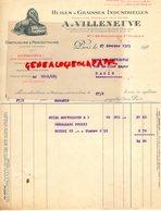 75- PARIS- GENTILLY-FACTURE A. VILLENEUVE -HUILES GRAISSES INDUSTRIELLES-ONCTUOLINE-PERFECTOLINE-47 BD ST JACQUES-1929 - Ambachten