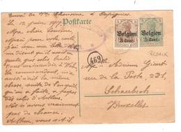 JS587/ Guerre-Oorlog 14-18 Entier CP 5 C + TP 11 C.Rebaix 1917 Censure Ath V.BXL - [OC1/25] General Gov.