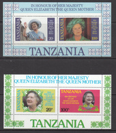 1985 Tanzania Queen Mother 85th Birthday Cpl Set Of 2 Sheets MNH - Tanzania (1964-...)