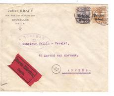 JS588/ Guerre-Oorlog 14-18 TP Oc 15-18 S/L.Exprès Entête Julien Graff Càp BXL 1917+ Censure V.Anvers - Guerra 14 – 18