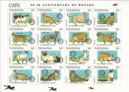 "1995 Tanzania ""RARE"" Rotary Overprint Miniature Sheet Of 16 MNH - Tanzania (1964-...)"