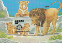 "1995 Tanzania ""RARE"" Rotary Overprint Lion Souvenir Sheet Of 1 MNH - Tanzania (1964-...)"