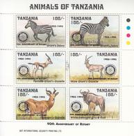 "1995 Tanzania ""RARE"" Rotary Overprint Zebra, Gazelle, Wildebeest Miniature Sheet Of 6 MNH - Tanzania (1964-...)"