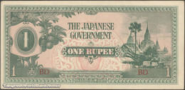 TWN - BURMA 14b - 1 Rupee 1942 Block BD AU/UNC - Myanmar