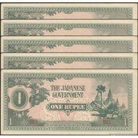 TWN - BURMA 14b - 1 Rupee 1942 DEALERS LOT X 5 - Block BD AU/UNC - Myanmar