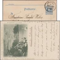 Munich 1898. Poste Privée Courier De Munich. Le Roi Louis En Chevalier Des Cygnes. Löhengrin, Lune, Wagner, Peinture - Swans