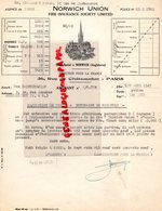 ROYAUME UNI-ANGLETERRE- 75-PARIS- RARE NORWICH UNION-FIRE INSURANCE SOCIETY LIMITED- 36 RUE CHATEAUDUN-1949 - Royaume-Uni