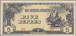 TWN - BURMA 15b - 5 Rupees 1942 Block BB AU/UNC - Myanmar