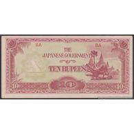 TWN - BURMA 16a/b - 10 Rupees 1942 Block BA AU/UNC - Myanmar