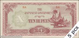 TWN - BURMA 16a/b - 10 Rupees 1942 DEALERS LOT X 5 - Block BA AU/UNC - Myanmar