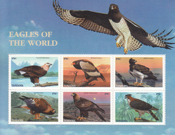 1998 Tanzania Birds Eagles Cpl Set Of 2 Sheets MNH - Tanzanie (1964-...)
