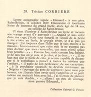 FAC-SIMILÉ DE COURRIER MANUSCRIT - TRISTAN CORBIÈRE - LETTRE A SON PÈRE  - 1859 - VOIR PHOTOS - Autogramme & Autographen