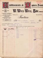 SUISSE BALE FACTURE 1908 Etablissement De Papiers Peints WIRZ- WIRZ  A91 - Switzerland