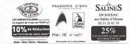 Ticket - Passages D'eau - Les Sables D'Olonne [bateau Passeur] - Europa