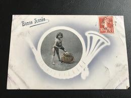 1775 - BONNE ANNEE 1910 Timbrée - Ange Versant Du Champagne Dans Insigne Chasseur à'pied - New Year