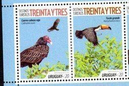 URUGUAY,2018, MNH, TOURIST DESTINATIONS, BIRDS, TOUCANS, 2v - Vogels