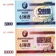 LOT SET SERIE 2 BILLETS KOREA Coree 5000 & 10000 WON  2003 BOND UNC NEUF - Korea, North