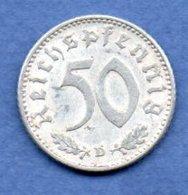 Allemagne  --  50 Reichspfennig  1943 D  - Km # 96  -  état  TB+ - [ 4] 1933-1945 : Third Reich