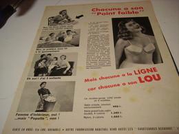 ANCIENNE PUBLICITE SOUS  VETEMENT LOU 1955 - Publicités