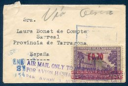 EL SALVADOR. Carta Enviada A España / Letter Mailed To Spain (1954) - Air Mail Only To New Orleans - El Salvador