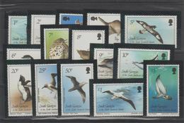 Géorgie Du Sud 1987 Oiseaux 166-80 15 Val ** MMH - Géorgie Du Sud