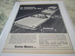 ANCIENNE   PUBLICITE VOITURE LES RECONNAITRE DE LOIN ROOTES MOTOR 1968 - Cars