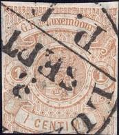 1859 Armoires Luxembourg 1c. Brun-clair, Oblitéré  Michel: 3, 2scans, Val.Catalogue: 550€ - 1859-1880 Armoiries