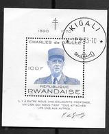Rwanda: Timbre Charles De Gaulle Sans Gomme ,superbe Cachet De KIGALI - Rwanda